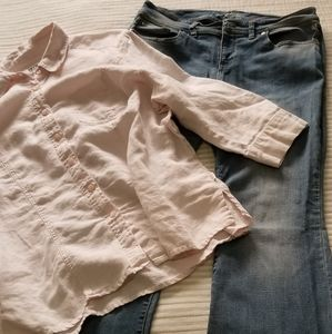 jeans and linen blouse together as a bundle